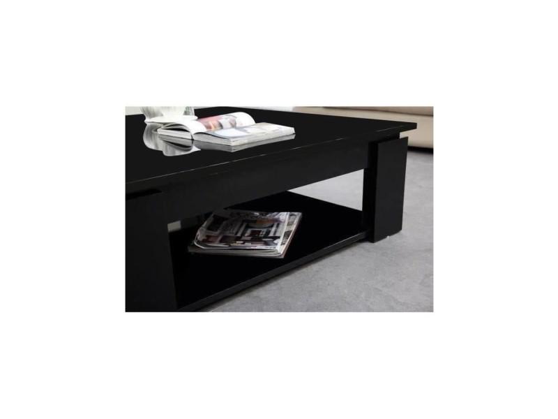 L 89 x l 89 cm MANHATTAN Table basse carr/ée style contemporain blanc brillant