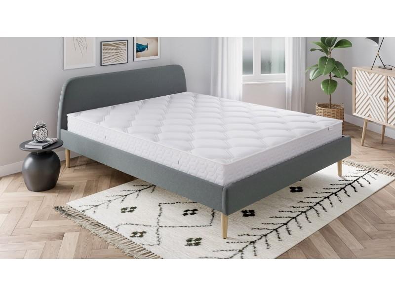 Ensemble matelas ressorts 140x190 spring confort + lit gris foncé + sommier à lattes - mousse hd + ressorts ensachés - hbedding 140 x 190 cm