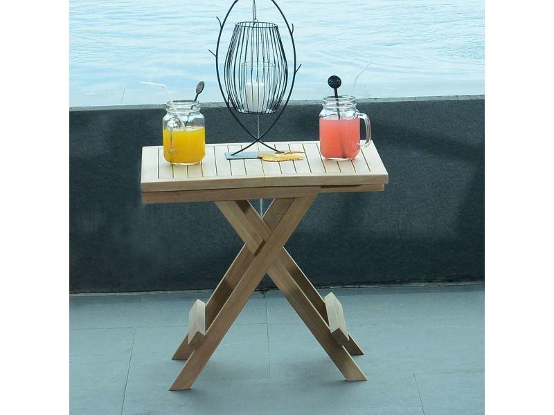 Table basse pliante carrée en teck ecograde kento 50 x 50 cm Teck massif de qualité Ecograde©