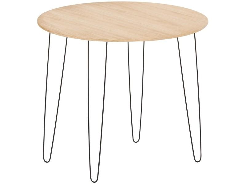 Table de salon chevet d'appoint design scandi plateau bois pieds métal noir