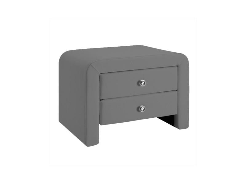 Table chevet design en simili cuir eva - gris