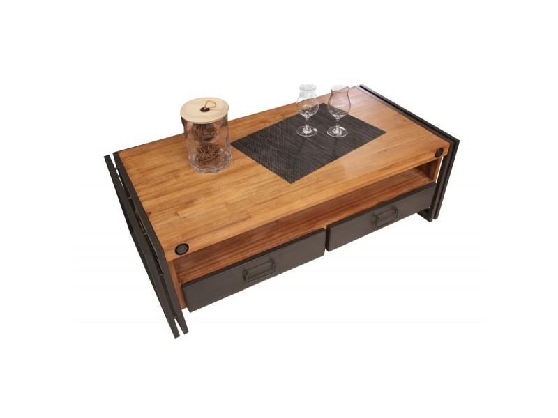 Table basse style industriel 2 tiroirs et niche - workshop