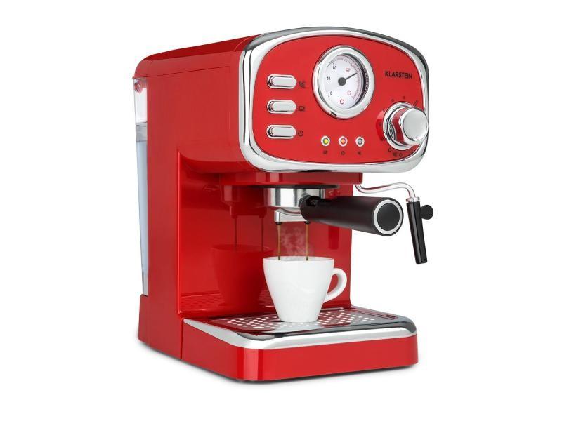 Klarstein espressionata gusto - machine à espresso 1100w , réservoir 1l , pression 15 bars - design rétro rouge