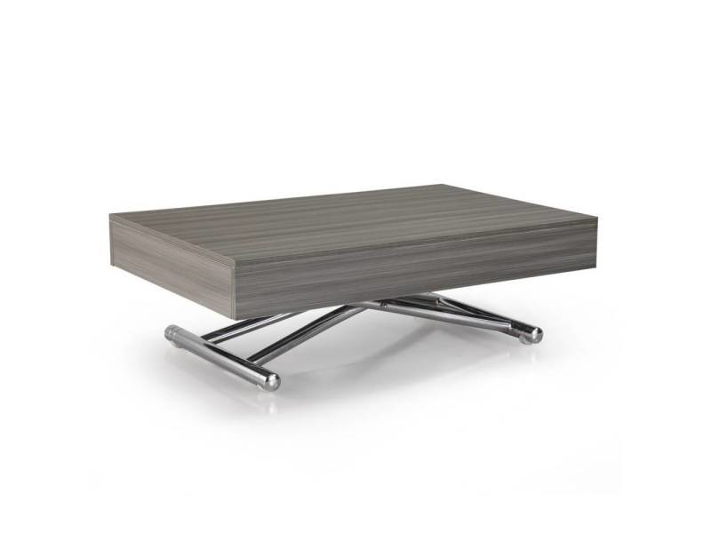 Table basse relevable cube chêne gris extensible 10 couverts 20100871785