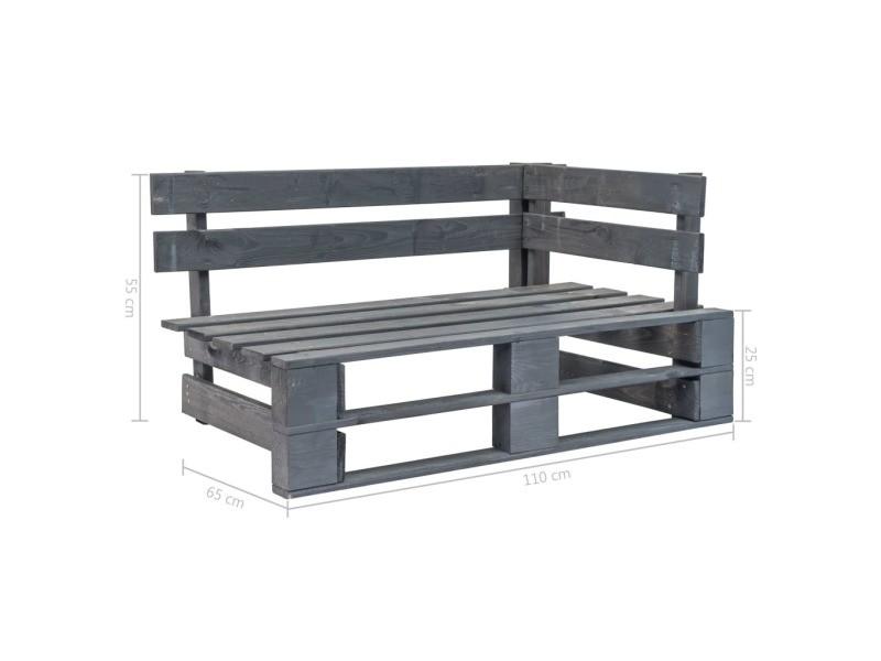 Vidaxl banc d'angle palette de jardin bois gris 44698