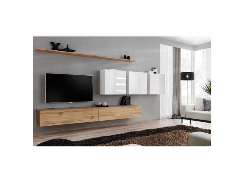 Ensemble mural - switch vii - 3 vitrines carrées - 2 bancs tv - 2 étagères - bois et blanc - modèle 1