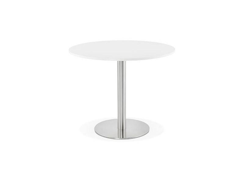 Table à manger ronde 90 cm en bois blanc et pied en acier - bahia