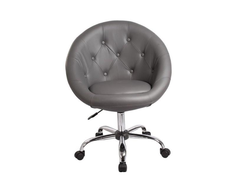 Fauteuil à roulette cuir pu tabouret chaise de bureau gris bur09032 vente de fauteuil de bureau conforama