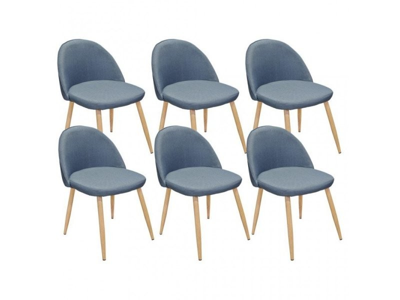 Lot De 6 Chaises Salle A Manger Scandinave En Tissu Bleu Gris Avec
