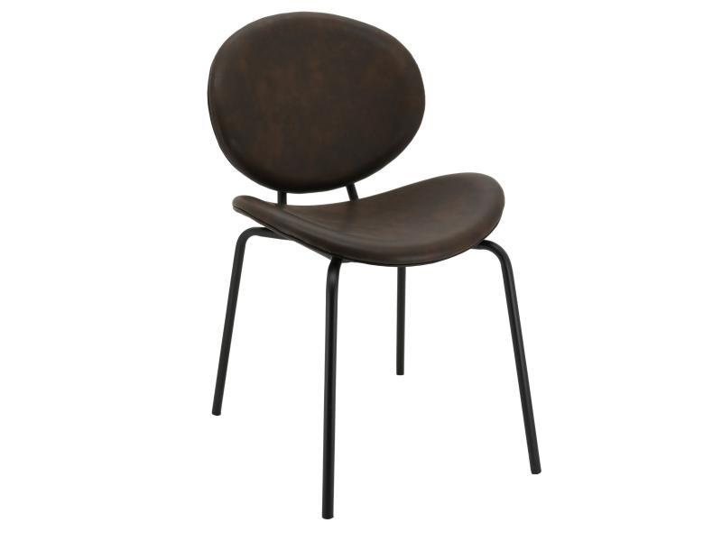 Chaise design en simili cuir et métal brun