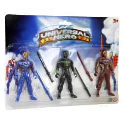 Figurines de ninjas : 3 ninjas universal hero dont 1 avec motif araignée