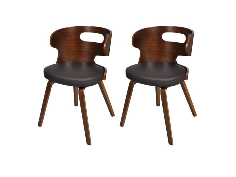 2 chaises de cuisine salon salle à manger design noir bois helloshop26 1902040
