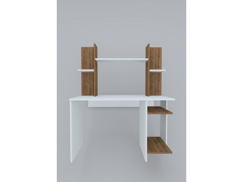 Bureau design jaunty blanc et motif bois noyer marron clair