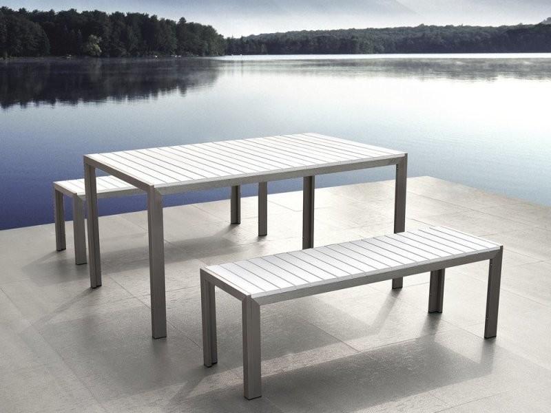 Ensemble de jardin en aluminium et bois composite blanc nardo 43785