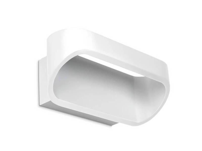 Applique led oval aluminium blanc mat cm vente de luminaire