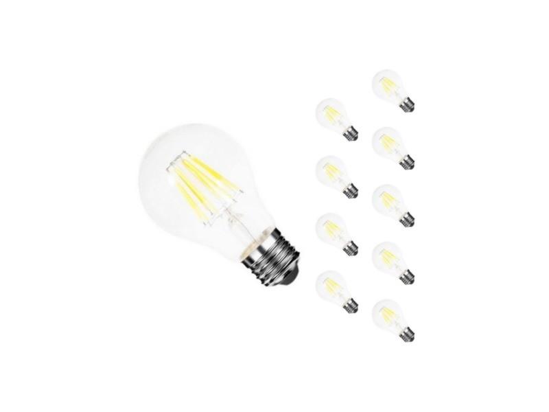 Ampoule e27 led filament 6w 220v cob 360° (pack de 10) - blanc chaud 2300k - 3500k