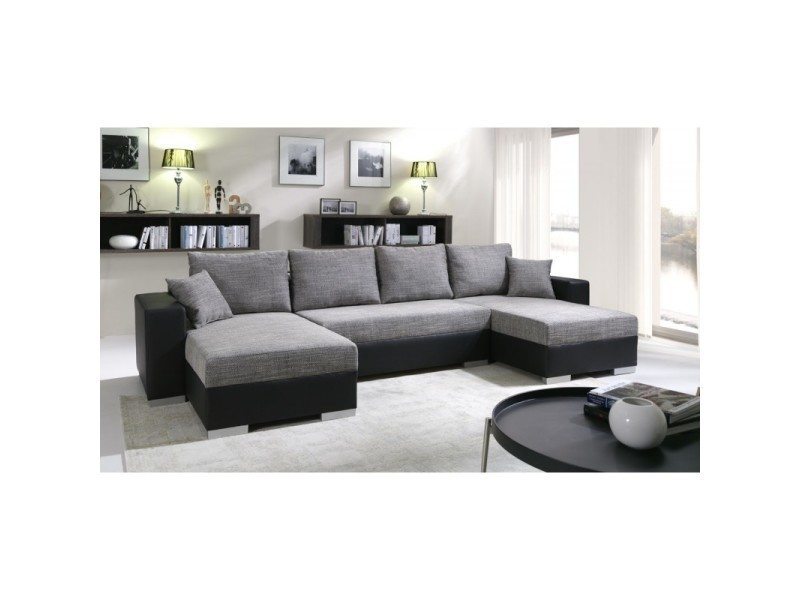 Canapé d'angle convertible enno gris et noir TENDENCIO