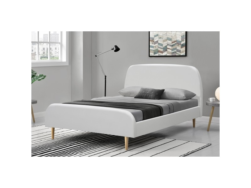 rubiel cadre de lit en simili cuir blanc et sommier 140x190cm 212782 conforama. Black Bedroom Furniture Sets. Home Design Ideas