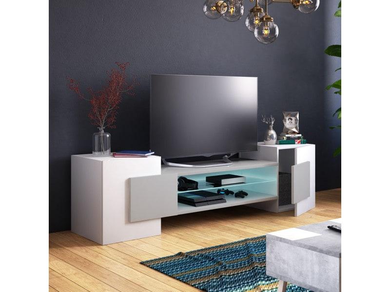 Meuble tv - charles - 160 cm - blanc mat / gris mat - led