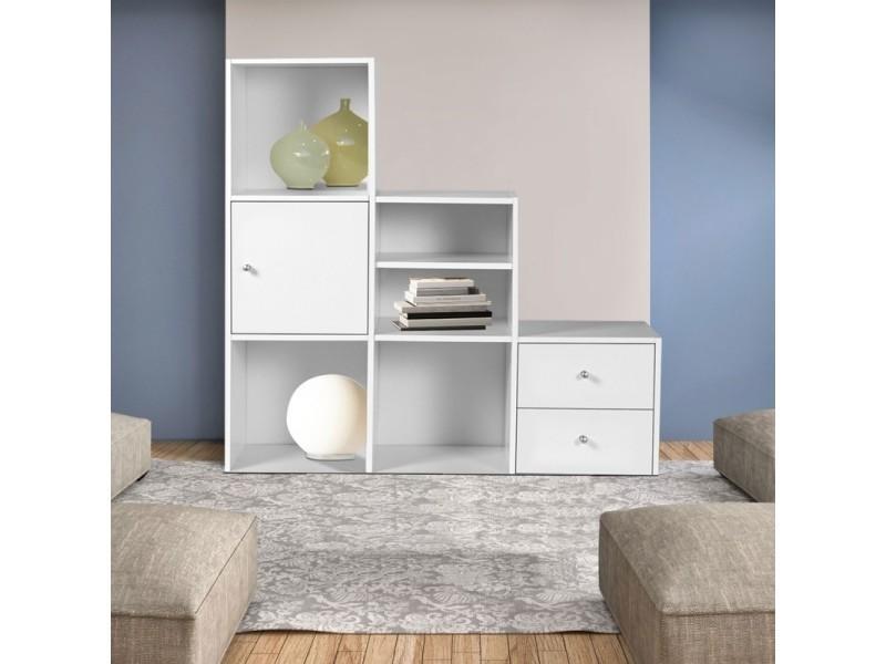 meuble de rangement escalier 3 niveaux bois blanc avec porte et tiroirs vente de id market. Black Bedroom Furniture Sets. Home Design Ideas
