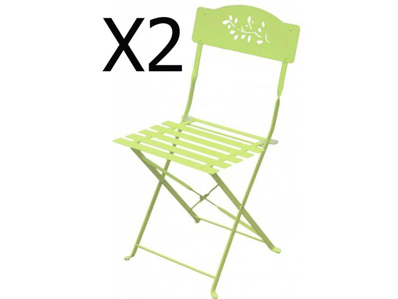 Lot de 2 chaises pliantes de jardin en acier et textilène coloris mint -pegane-