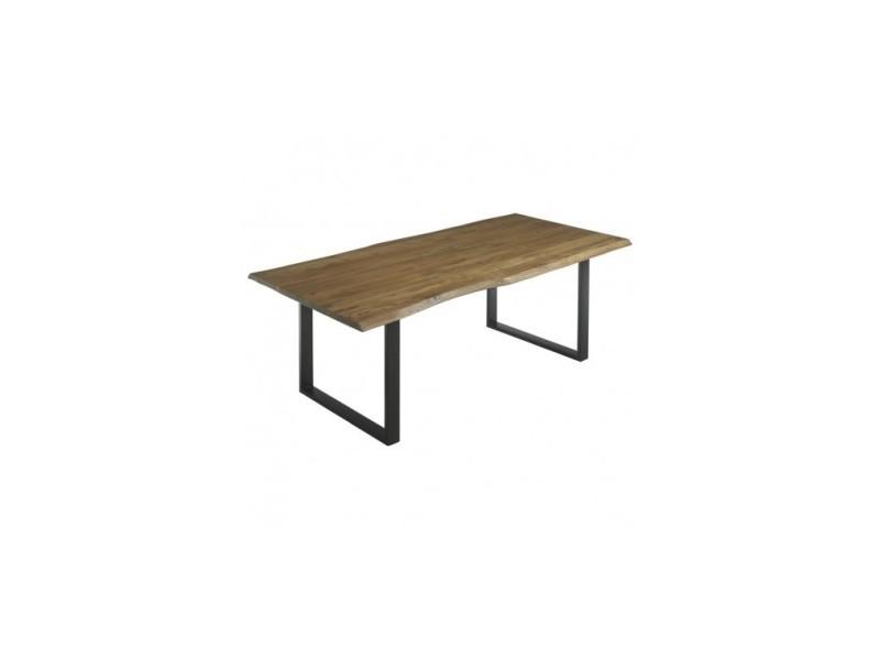 Table à manger bois clair et métal jungle 200 cm