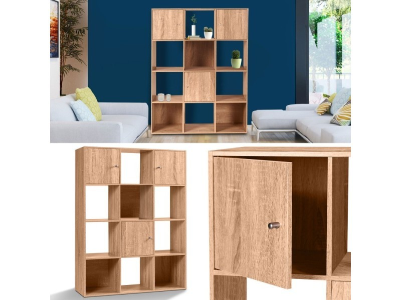 Meuble de rangement cube 12 cases bois fa on h tre avec 3 for Meuble cube 6 cases