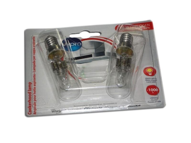 Lot de 2 ampoules halogènes t25l e14 40w long. 81mm diam. 23mm hotte wpro 484000008834