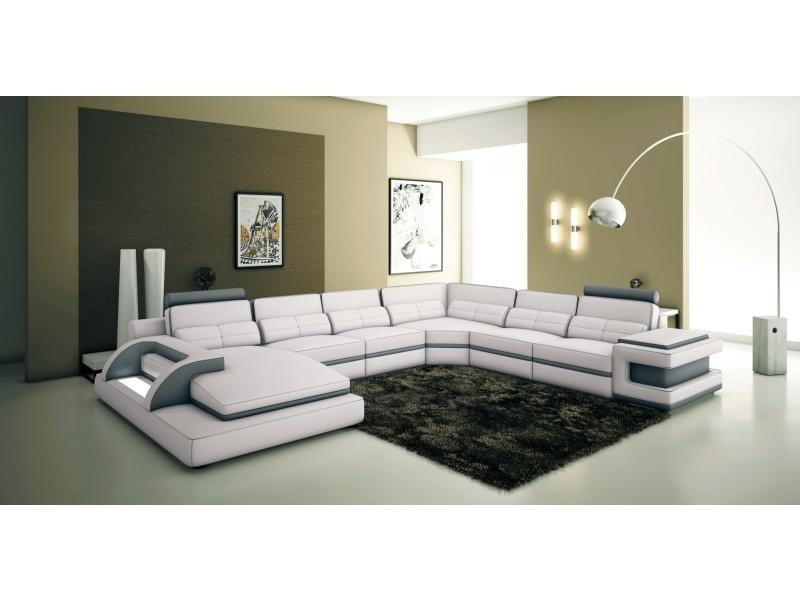 Canapé panoramique cuir blanc et gris design avec lumière ibiza panoramique (angle gauche)-