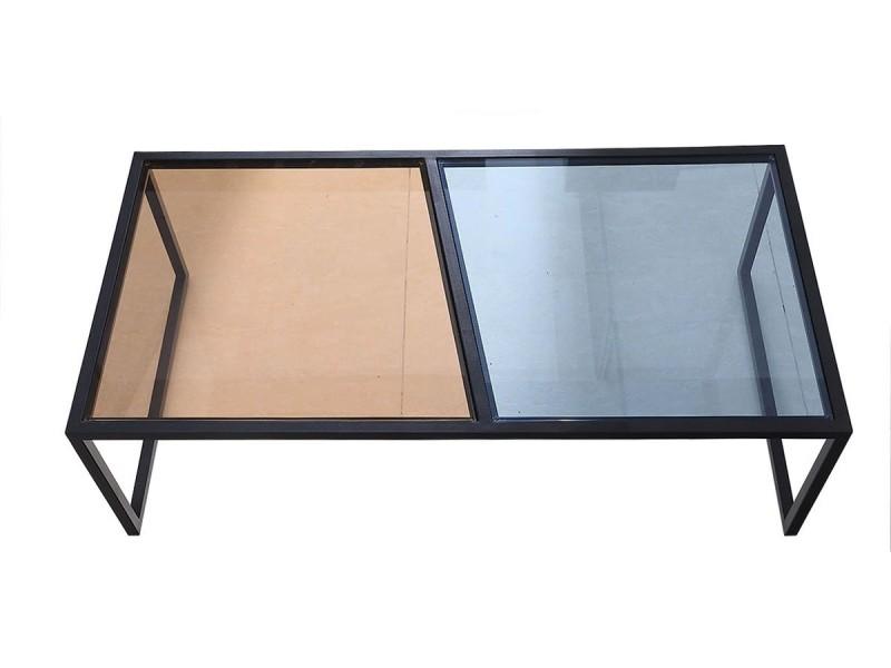 Table basse verre esprit - marron / bleu - noir