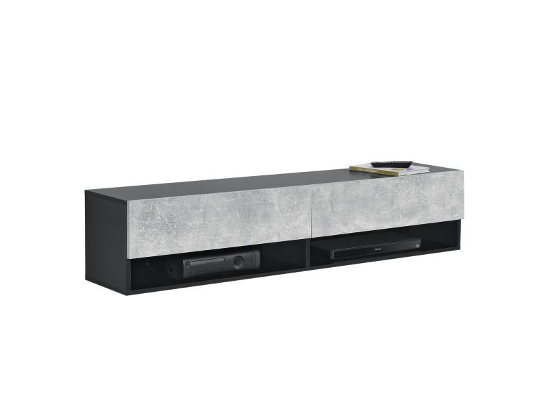 Étagère murale design à 2 portes meuble support tv stylé avec compartiments de rangement fermés et ouverts capactié de charge jusqu'à 25 kg panneau de particules mélaminé 140 x 31 x 30 cm noir effet béton [en.casa]
