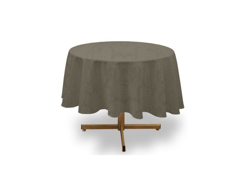 Soleil d'ocre nappe ronde anti-tâches snake - 180 cm - taupe