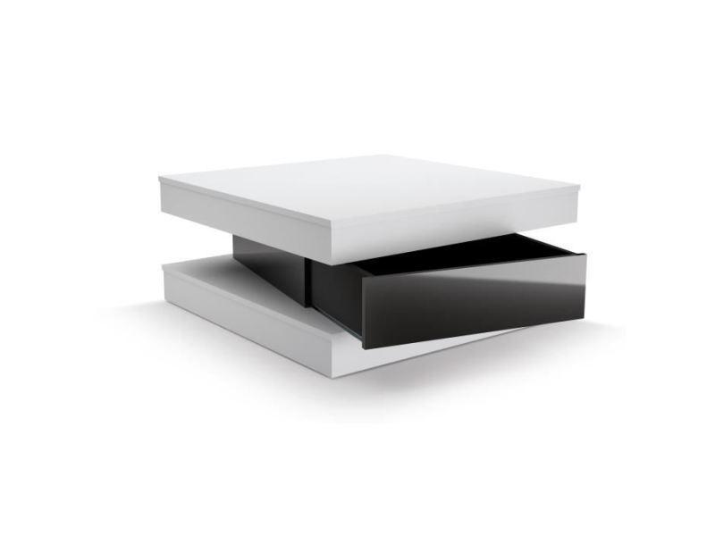 Contemporain Blanc Noir Table Basse Fixy Et Carrée Style A54Rq3jL