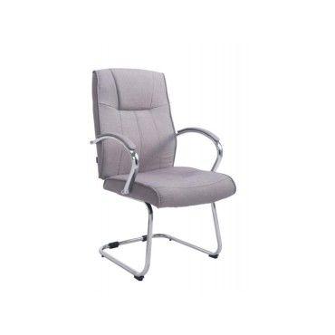 fauteuil de bureau sans roulette en tissu gris bur10118 - vente de