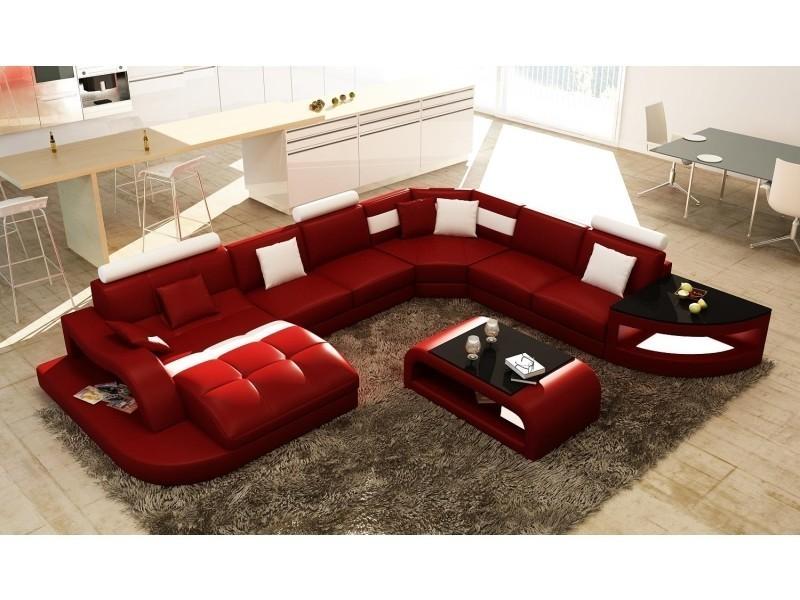 Canapé d'angle design panoramique rouge et blanc istanbul-