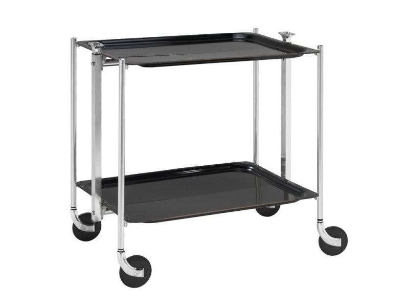 Table roulante pliable noire avec 2 plateaux