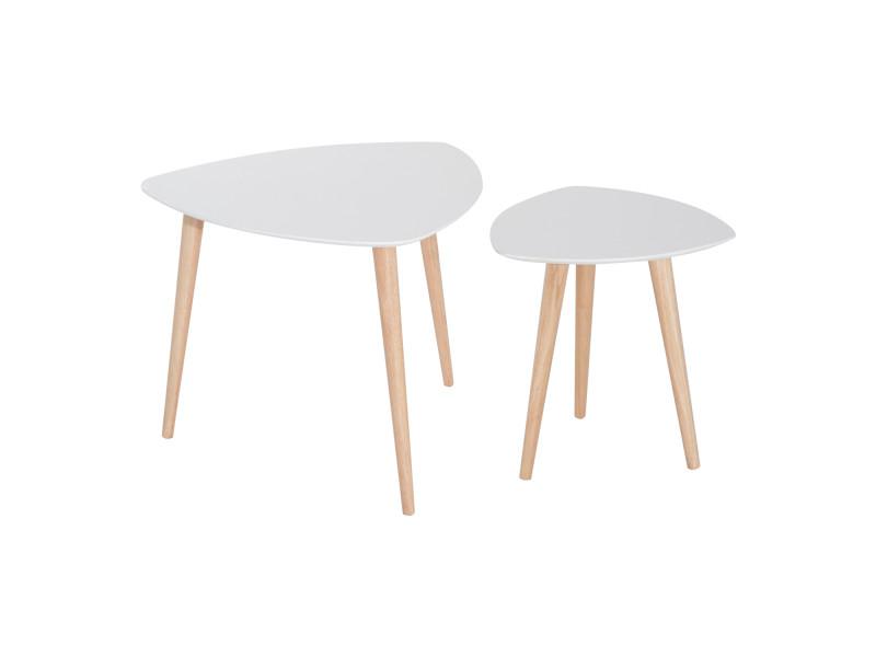 Lot De 2 Tables Basses Gigognes Design Scandinave Bicolore Pieds