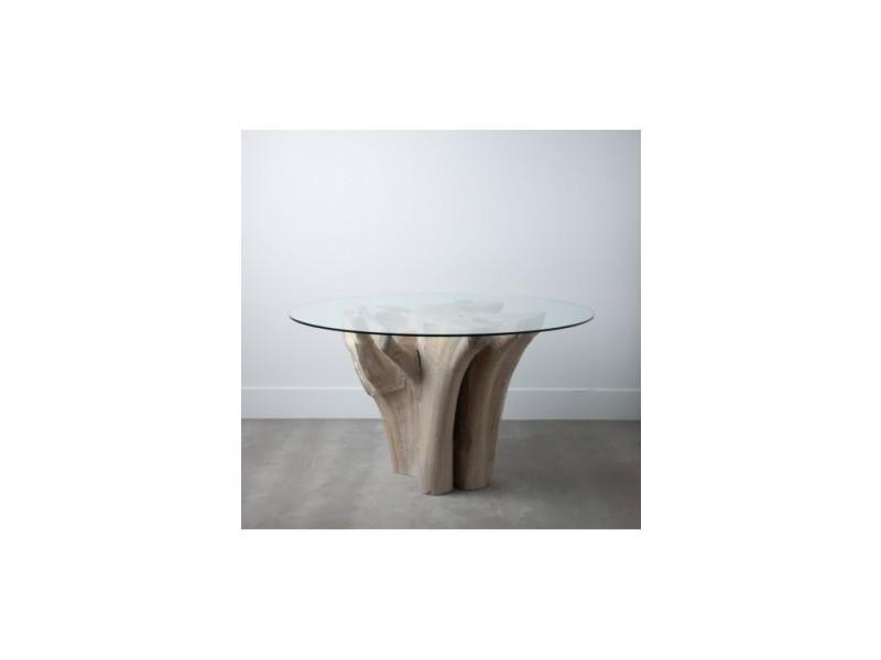 Table à manger bois racine et plateau verre roots