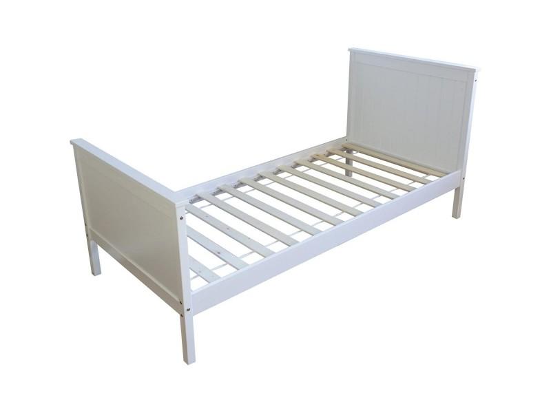 lit simple blanc 90x200 avec pied de lit 1419 vente de. Black Bedroom Furniture Sets. Home Design Ideas