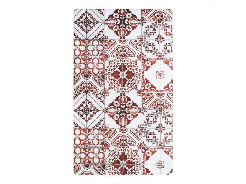 azulejos vinyle tapis de cuisine carreaux de ciment rouge 45x75