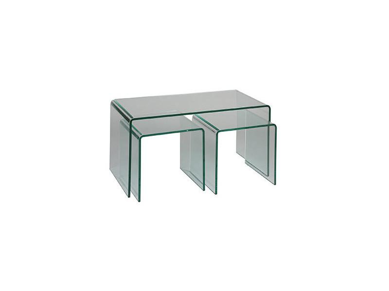 Table Lot Tables De Verre Basses Trempé Glass Vente 3 En 43RjL5A