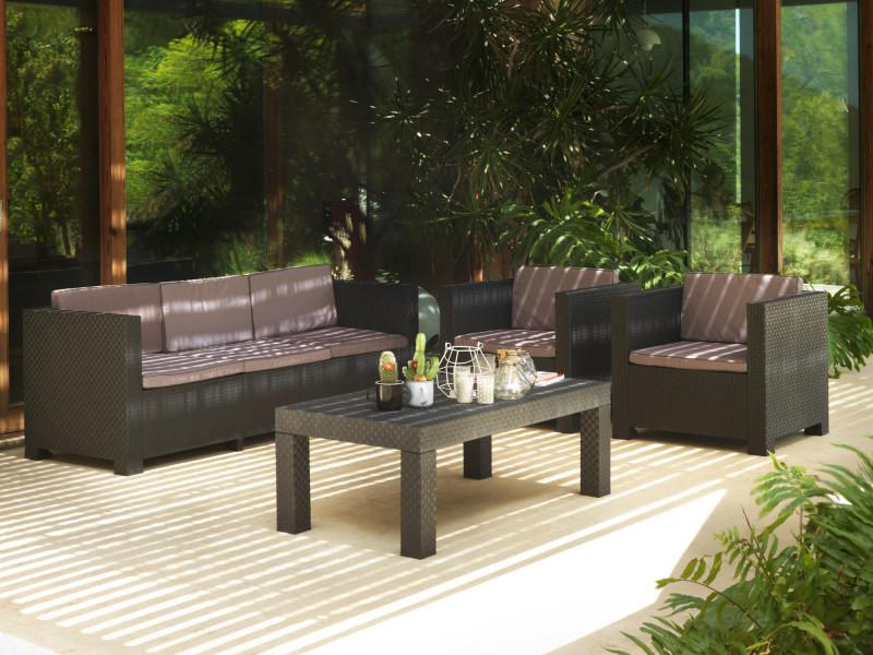Figari - salon bas de jardin 5 places - en résine tressée injectée - noir avec coussins gris couleur - noir