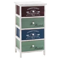 Commode coloris chiffonnier 4 tiroirs colorés en bois de paulownia style shabby chic vintage rustique rétro blanc