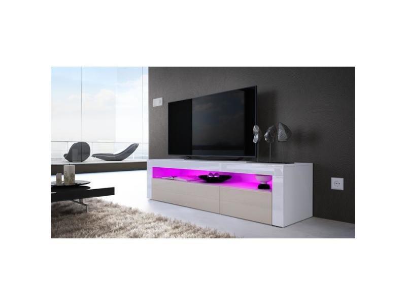 Meuble tv 155 cm blanc mat / portes gris sable + led