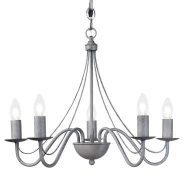 Lustre 5 ampoules camille gris en fer forg vente de keria luminaires conforama - Console fer forge conforama ...