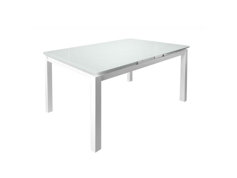 Table extensible 120 à 200 cm compact plateau verre blanc - angela