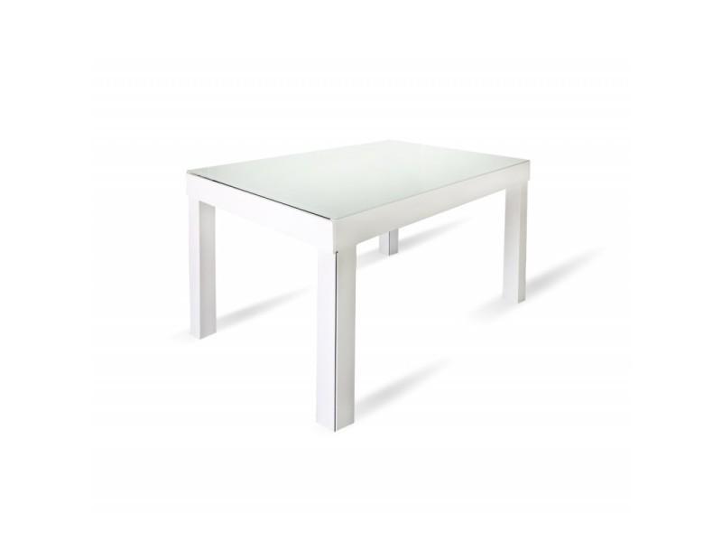 Table de repas extensible 120 à 340 cm plateau verre blanc - banquet