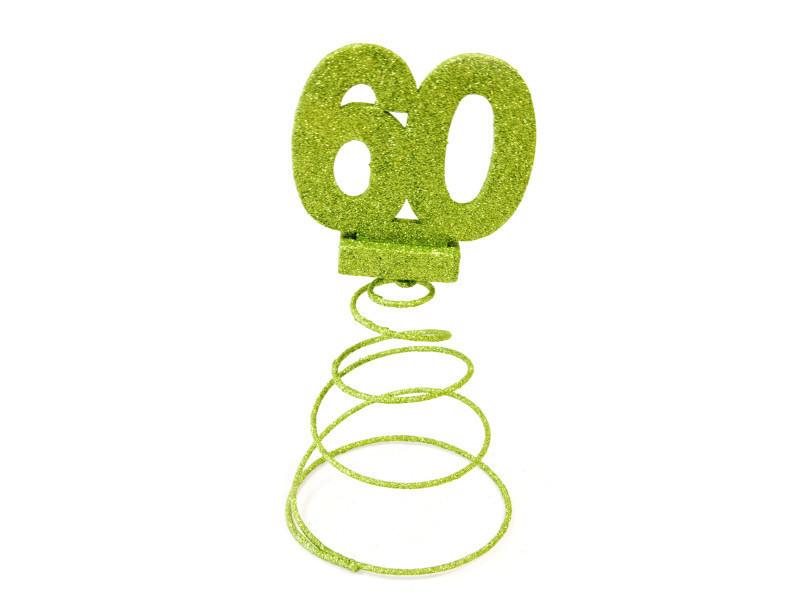Centre de table pour anniversaire 60 ans - menthe pailletée