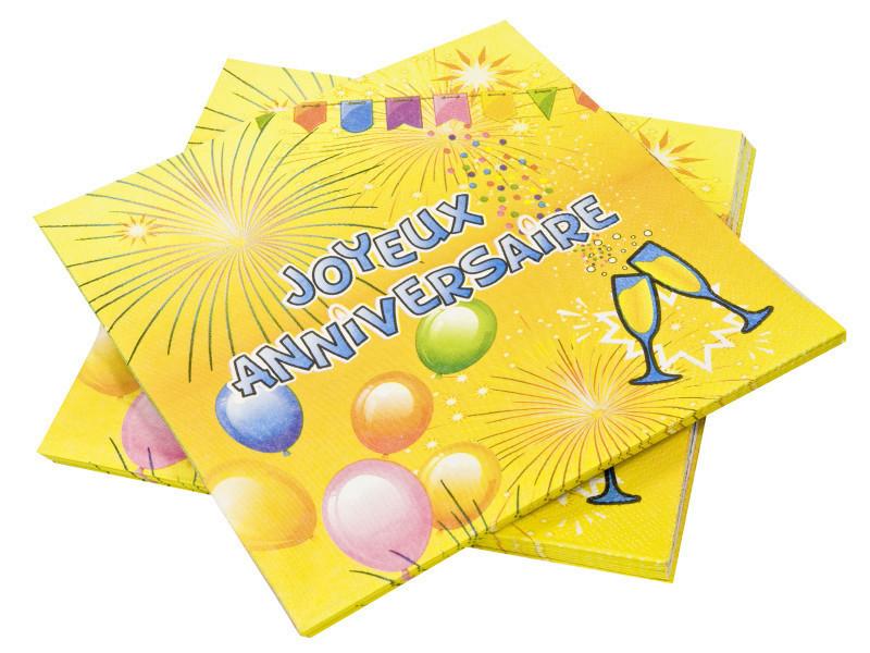 Lot de 20 serviettes en papier joyeux anniversaire 3 plis - 33 cm x 33 cm