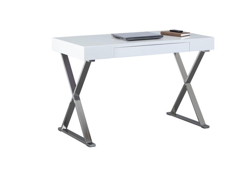 Bureau grace avec tiroir blanc laqué et pieds métal